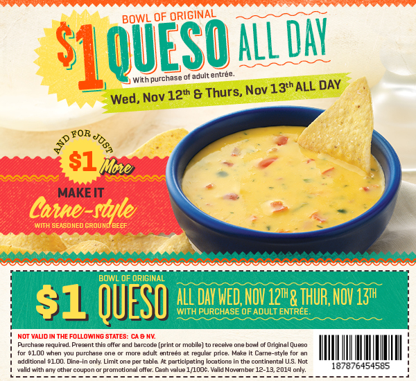 On The Border Coupon March 2018 Queso for a buck at On The Border Mexican restaurants